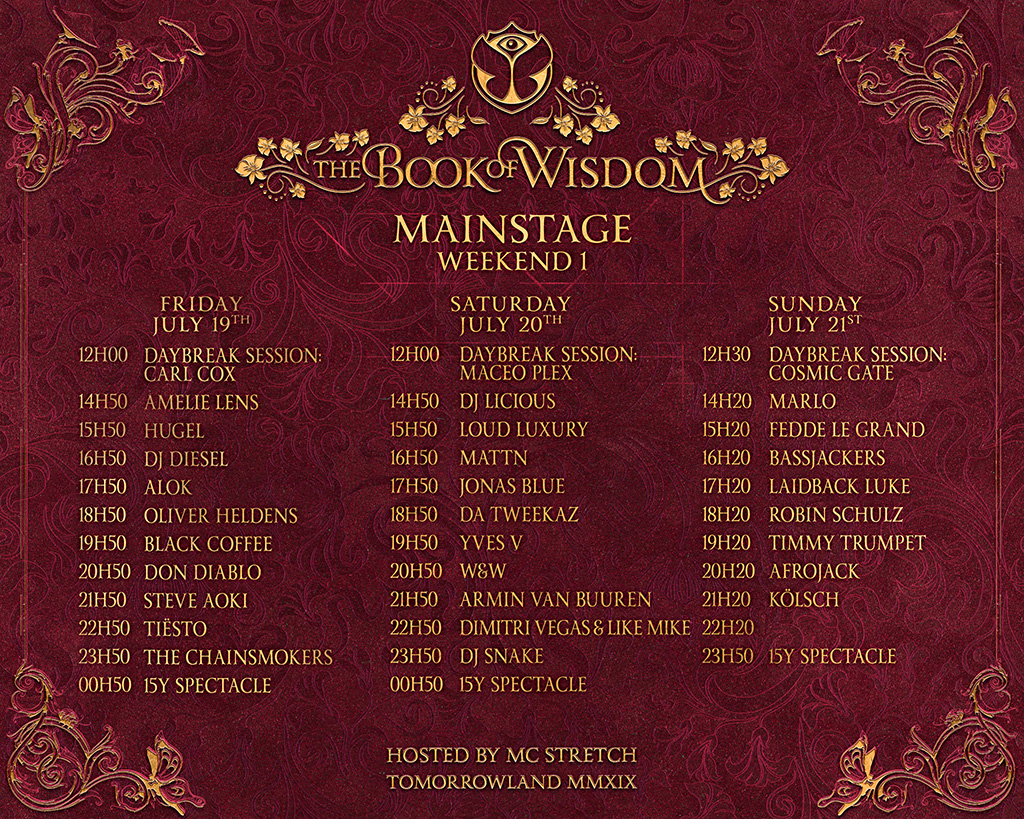 Calendario Luna 2020.Line Up Festival Tomorrowland